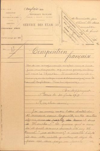 Composition de français, Rectorat de Paris, 1919, D2T1 14.