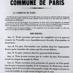 Décret des otages, 6 avril 1871. Archives de Paris, ATLAS 528.